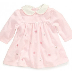 3-9MO Infant Girl Pink Cupcake Velour Dress by Little Me