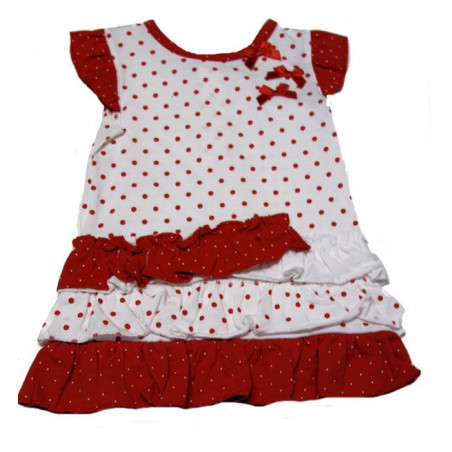 12-24mo Girls Red/White Dot Knit Dress w/DC by Absorba