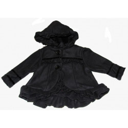 Black Fleece Short Coat w/Hood by Isobella & Chloe