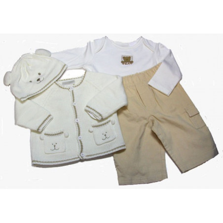100% cotton 4 Pc. Bear Sweater Set by Good Lad