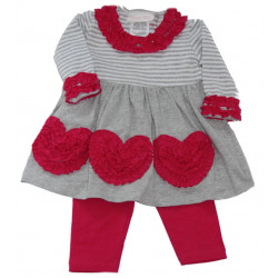 Infant Girl Bonnie Jean Rusched Hearts Dress w/Leggings