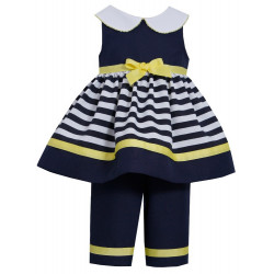 Navy/White Nautical Stripe Dress Set by Bonnie Baby