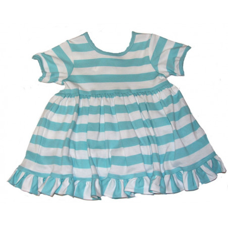 Zuccini 6-24 MO Aqua Stripe SS Knit Dress