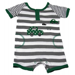 3-9 MO Cotton Knit Stripe Cars Short Romper by Petit Lem