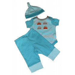 Turquoise Stripes & Cars Bodysuit, Pants, & Top Knot Cap by Off Spring