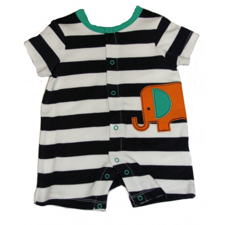 Wided Stripe Elephant Romper by Off Spring