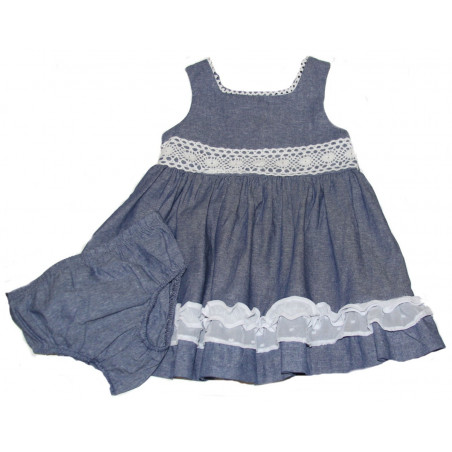 Chambray Dress w/White Trim & 3 Bow Back & DC by Bonnie Baby