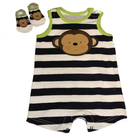 Vitamins Baby-boys Wide Stripe Sleeveless Monkey Romper