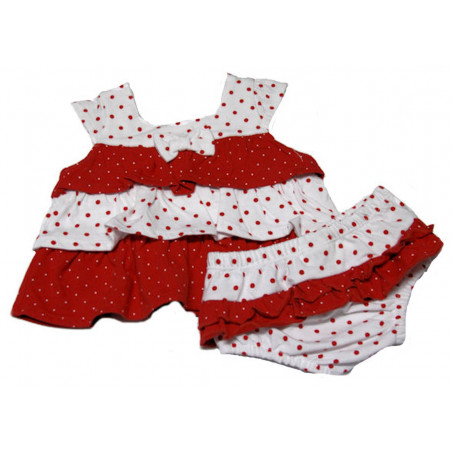 0-9mo Girls Red/white Dots ruffle Dress w/DC by Absorba