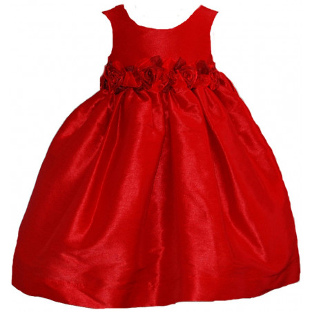 6-24 MO Red Poly Dupioni Silk Dress by Kid's Dream