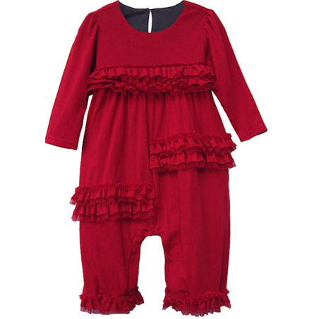 3-9 MO Red Knit LS Ruffles Romper by Isobella & Chloe