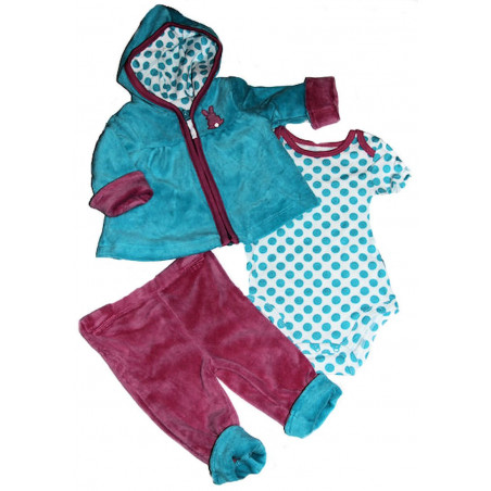 3-12 MO Infant Girl 3 Pc Velour Bunny Jacket Set by Little Me