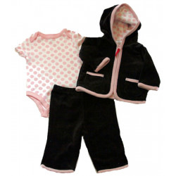 Black & Pink 3 Pc. Velour Jacket Set by Off Spring