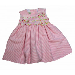 Little Threads Baby-girls Pink and White Stripe Dress