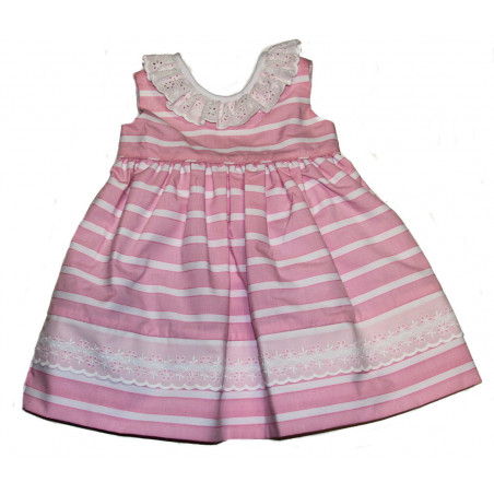Little Threads Pink and white Sleeveless Dress