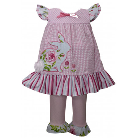 Bonnie Baby Pink Seersucker Bunny Dress with Capri