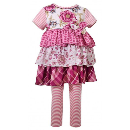 Bonnie Baby Challis Tiered Skirt Dress and Leggings