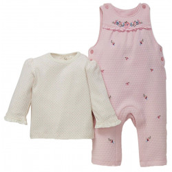 Little Me Pink Embellished Romper and Long Sleeve Blouse