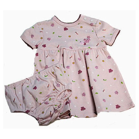 Kushies Infant Girl Butterflies & Flowers Dress w/DC