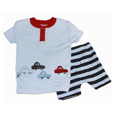 Petit Lem Infant Boys Cars & Stripes PJ's