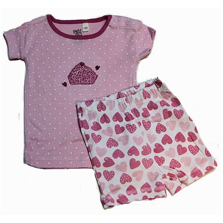 Petit Lem 12-24 Mo. Girls Dots & Hearts Baby Girl PJ's