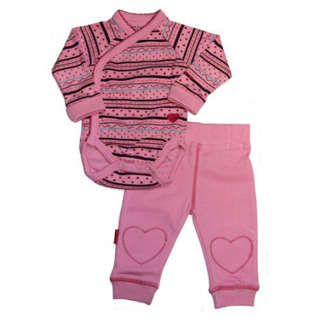 Kushies Side Snap LS Hearts & Stripes Onesie w/Pants