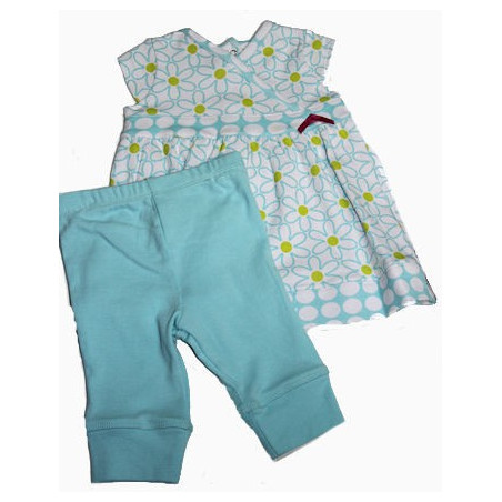 Little Me 3-9 MO Aqua Daisy Dress w/Leggings