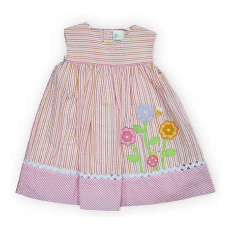 ZU 12-24 Mo Infant Girl Pink/Orange Stripe Seersucker Dress