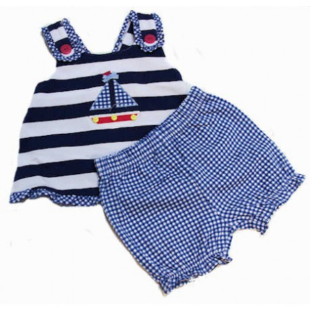 Letop Infant Girl 12-24 MO Ship Ahoy Sunsuit Set