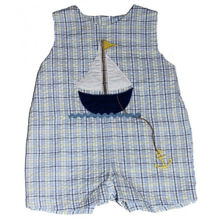 Blue/Yellow Plaid 12-24mo Boys Seersucker Romper by ZU