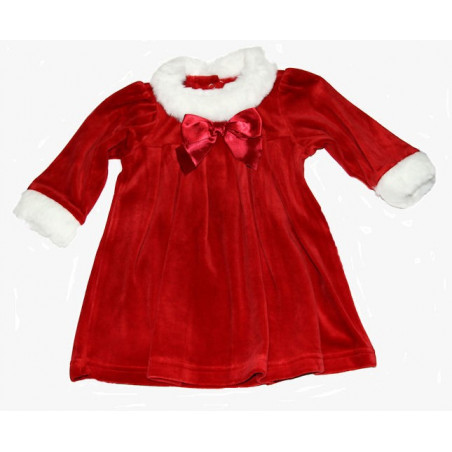 LeTop Infant Girl Red Velour w/White Faux Fur