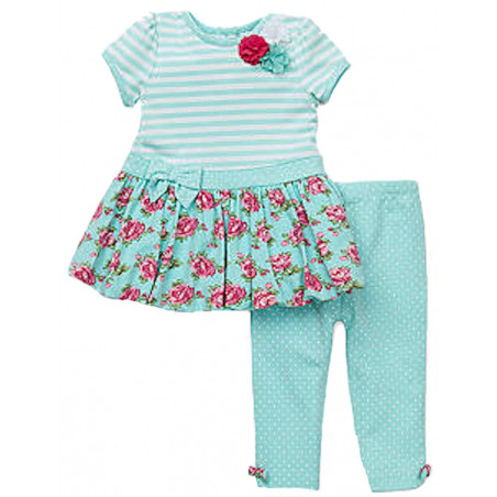 Little Me Girls' Aqua Strpes & Floral Dress w/Leggings