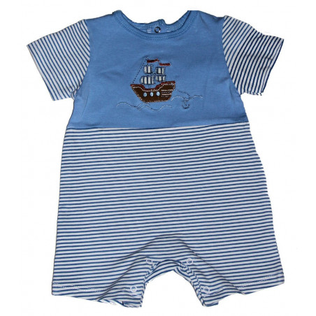 Blue/White Stripe Sailing Romper b y Maison Chic
