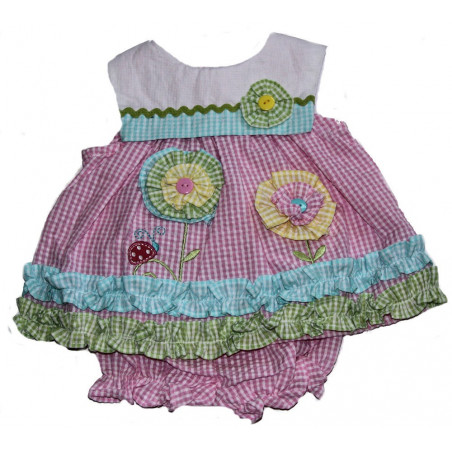 Samara 3-24 MO Girls Flower Pinwheels Dress w/ DC