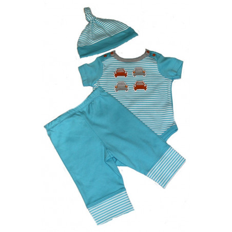Turquoise Stripes & Cars Bodysuit, Pants, & Top Knot Cap by Offspring