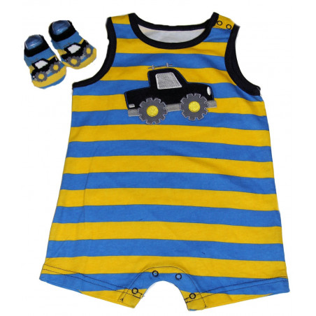 Vitamins Truck Sleeveless Romper w/Bootie Socks