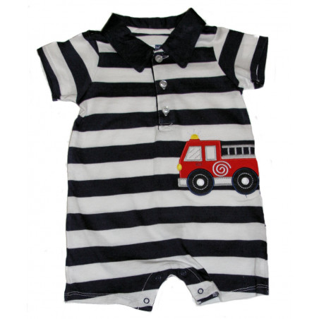 Vitamins Baby-boys Fire Truck Wide Stripe Short Sleeve Romper