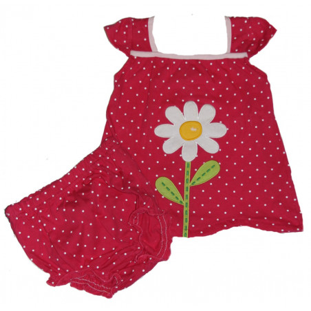 Vitamins Hot Pink Daisy Flower Dress with Diaper Cover