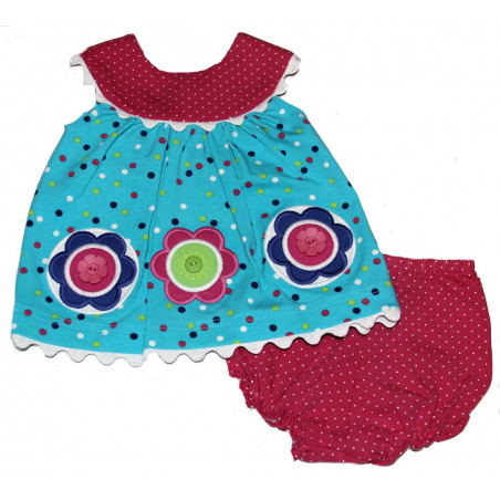 Molly & Millie Baby-girls Knit Flowers & Dots Dress w/Diaper Cover