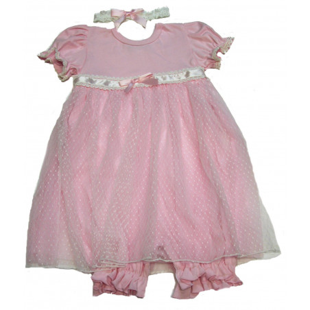 BeBe Gabrielle Baby-girls Pink Bubble Romper with Overlay Skirt