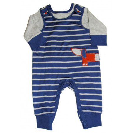 Offspring Baby-boys Red Dog Stripe Knit Romper with Long Sleeve Shirt