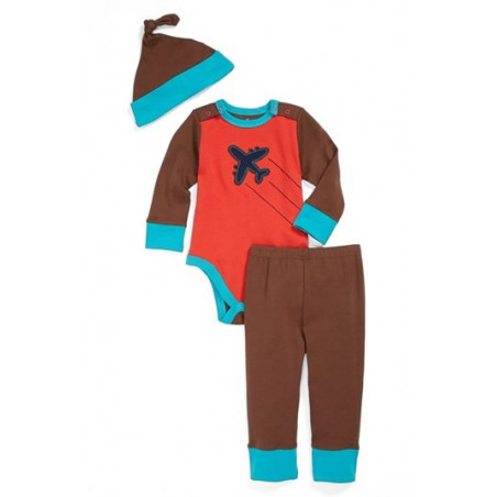 Offspring Infant Boy Colorblock Onesie w/Pants & Knot Hat