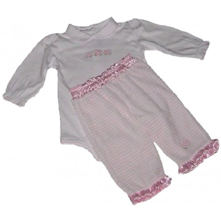 Cotton Long Sleeve Onesie & Velour Pull-on Pants by Kissy Kissy