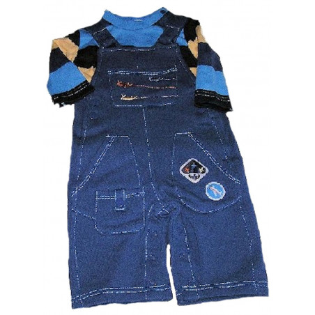 3-9 Months Flying Machine Overall w/Long Sleeve Stripe Shirt by LeTop