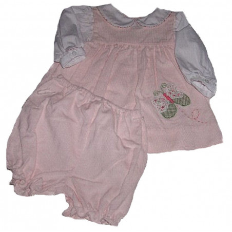 3-9 MO Cotton Corduroy Peach Dress w/DC by ZU