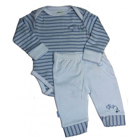 Kushies Airplane Stripe LS Onesie w/Pants