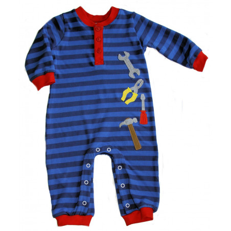 Wally & Willie Baby-boys Blue Tools Romper