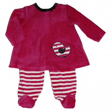 Offspring Baby-girls Hot Pink Velour Dress w/Footed Leggings