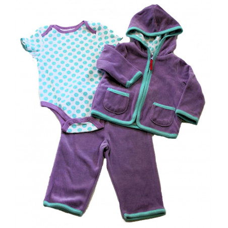 Lavender 3 Pc. Velour Jacket Set by Off Spring