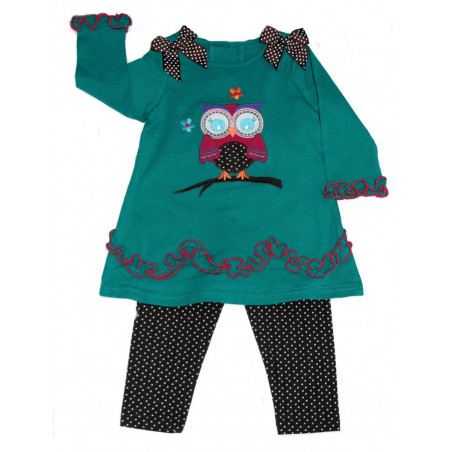 Good Lad Baby-girls Turquoise Owl Dress w/Leggings